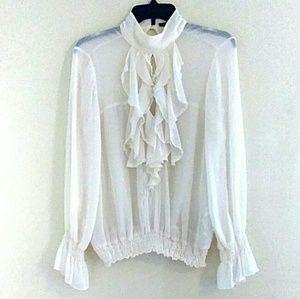 4a8bbedcf428f Zara Tops - Zara Basic romantic ruffle blouse size M